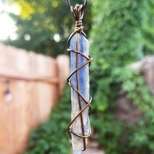 Raw Blue Kyanite Hand Wrapped Crystal Necklace